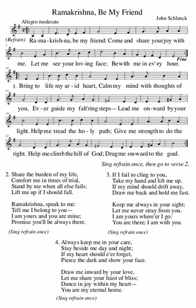 Ramakrishna, Be My Friend - Song by John Schlenck