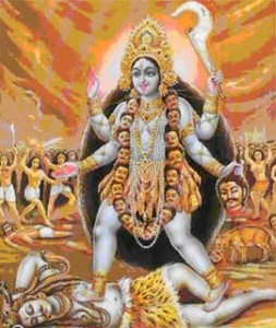 Kali dancing on the body of Shiva