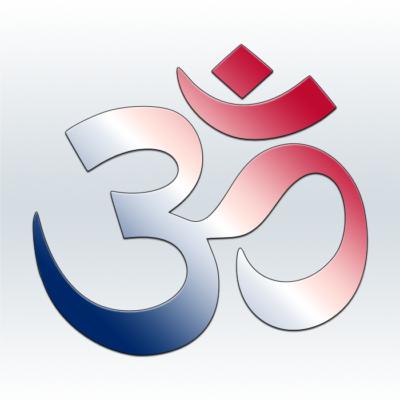 red white blue aum symbol